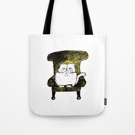 Staring Cat (Yellow) Tote Bag