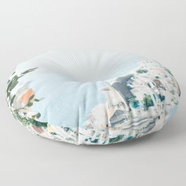 Positano landscape with white flowers Floor Pillow