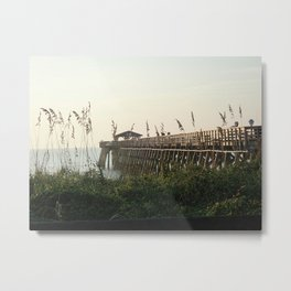 Fishing Pier and Sea Oates Metal Print