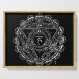 Black and White Throat Chakra Serving Tray
