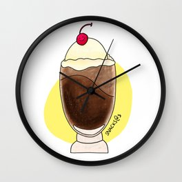 Cola float with cherry Wall Clock