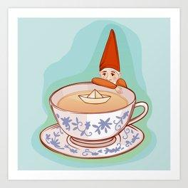fairytale dwarf during teatime Art Print