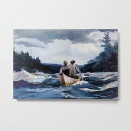 Canoe in the Rapids river landscape by Winslow H-o-m-e-r Metal Print