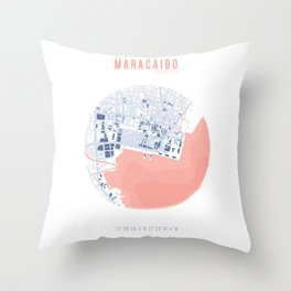 Map Chart #1 - MARACAIBO, VENEZUELA Throw Pillow