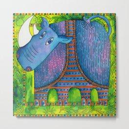 Patterned Rhino Metal Print