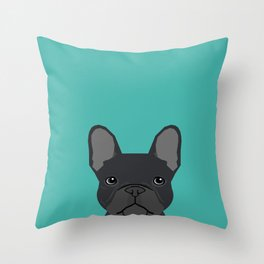 French Bulldog black coat peeking cute frenchie pure breed dog lover gifts Throw Pillow