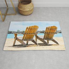 Beach Chairs at the Lake - Summertime - Beach Decor Rug