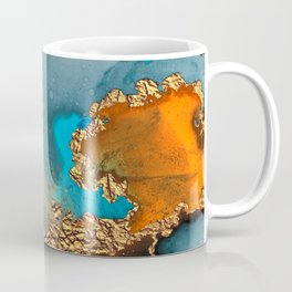 Abstract Blue And Gold Autumn Marble Coffee Mug