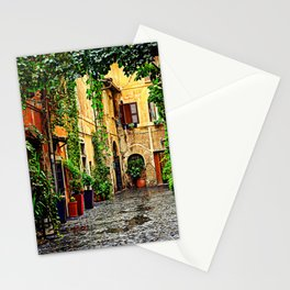 Vintage street in Rome, after Rain Stationery Cards
