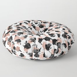 Modern faux rose gold marble brushstrokes dots pattern Floor Pillow