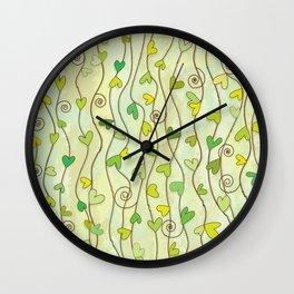 Heart and Spiral Botanic Pattern II - Summer Love Wall Clock