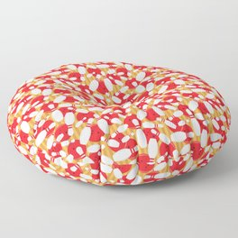 Bowling Alley Balls and Pins Pattern Floor Pillow