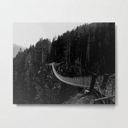Black and white Bridge over Dark Forest Metal Print