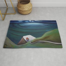 Cliff House - Hawaii landscape coastal seashore painting by Marguerite Blasingame Rug