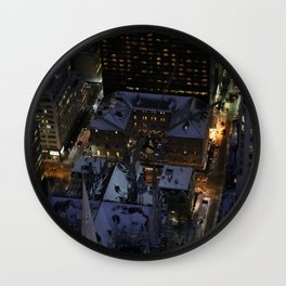 Hidden Christmas Tree in Manhattan at Night Wall Clock