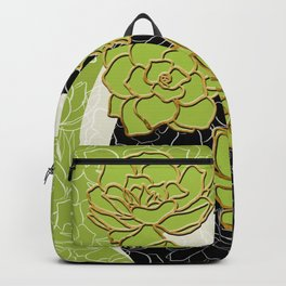Golden Flowers on Happy Green Backpack