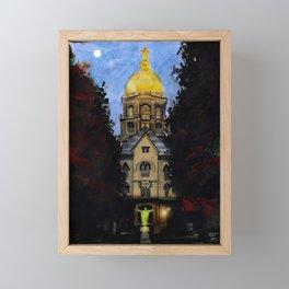 Golden Dome At Dusk: South Bend, IN Framed Mini Art Print