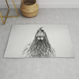 Chicken - Black & White Rug