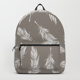 White Feather Pattern Backpack
