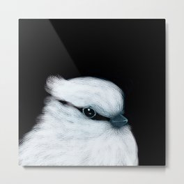 White Bird Black Background #decor #society6 #buyart Metal Print