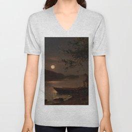 Shore of the Lake at Full Moon landscape painting by Magnus Munsterhjelm Unisex V-Neck