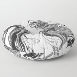Suminagashi 1 black and white marble spilled ink ocean swirl watercolor painting Floor Pillow