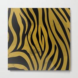 Zebra Mustard Metal Print