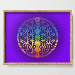 Flower of Life and Chakras Serving Tray
