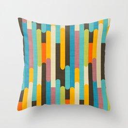 Retro Color Block Popsicle Sticks Blue Throw Pillow
