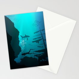 Beautiful coral reef and silhouettes of diver and school of fish in a blue sea Stationery Cards