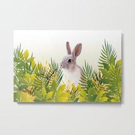Bunny sitting in green jungle leaves  Metal Print