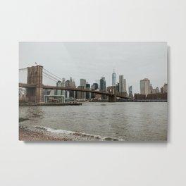 Skyline with Brooklyn Bridge from Pebble Beach | Colourful Travel Photography | New York City, America (USA) Metal Print