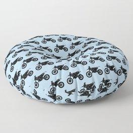 Dirt Bikes // Light Blue Floor Pillow