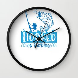 Fish Designs Hooked on Mommy Wall Clock