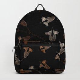 Black floral pattern flower Backpack