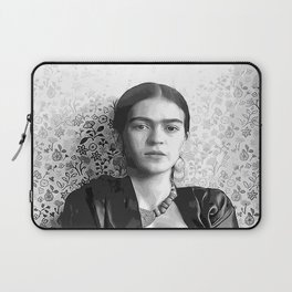 Frida with a Gun, Black and White, Vintage Wall Art Laptop Sleeve