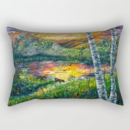 Sleeping Meadow - Colorado Moose Crossing by OLena Art Rectangular Pillow