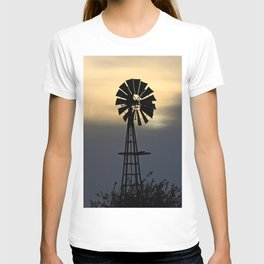 Kansas Windmill silhouette with clouds at Sunset. T-shirt
