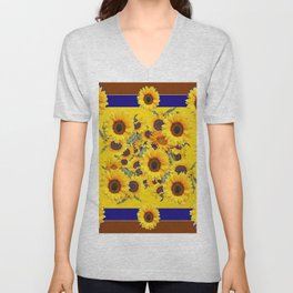 COFFEE BROWN & BLUE YELLOW SUNFLOWERS Unisex V-Neck