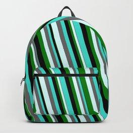 Eyecatching Turquoise, Dim Grey, Light Cyan, Green & Black Colored Striped Pattern Backpack