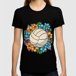 Volleyball mit Blumen T-shirt