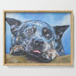 Australian Cattle Dog portrait by L.A.Shepard fine art painting blue heeler Serving Tray
