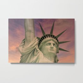 NEW YORK CITY Statue of Liberty at sunset Metal Print