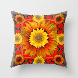 RED-GREY DECO YELLOW SUNFLOWERS MODERN ART Throw Pillow