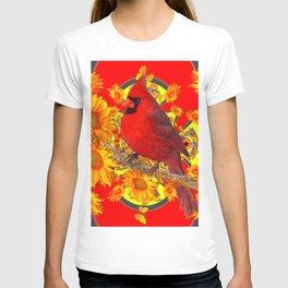 RED CARDINAL YELLOW SUNFLOWERS RED ART T-shirt