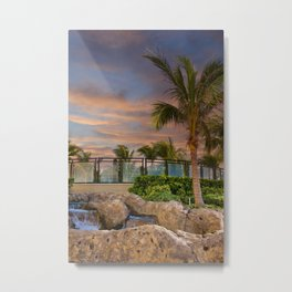 Palm Tree and Fountain at Dusk Metal Print
