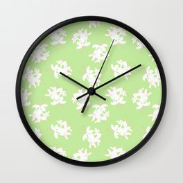 Honeysuckle Bouquet in Key Lime Wall Clock