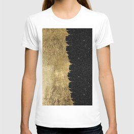 Faux Gold and Black Starry Night Brushstrokes T-Shirt