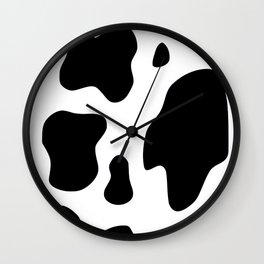 indie cow print in 004-charcoal and true white Wall Clock