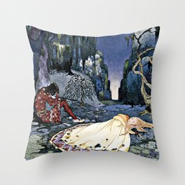 French Fairy Tales Illustration Throw Pillow
